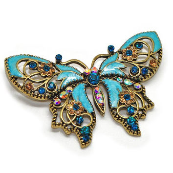 Antique Gold Tone Rhinestone Crystal Something Blue Butterfly Brooch Pin - Ideal for Wedding, Prom, Party