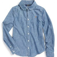 Girl's Ralph Lauren Long Sleeve Chambray Woven Shirt,