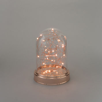 Fairy Lights in Clear Glass Cloche Copper / Rose Gold - small