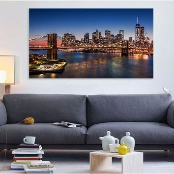 Canvas Print WalCanvas Picture Stretched On Wooden Frameless  New York City Skyline-Brooklyn Bridge, Photography Giant Poster
