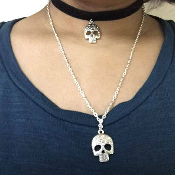 Cute handmade Sugarskull pendant gothic grunge black velvet choker and necklace together Day of the dead inspired
