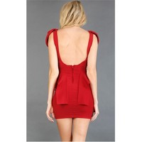 GD4053 Red Shoulder Cap Side Flap Dress and Womens Fashion Clothing  Shoes - Make Me Chic