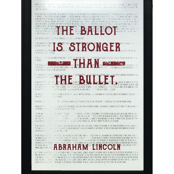 """Abraham Lincoln Ballot Stronger than Bullet Quote Office Art Print Red - 13x19"""""""