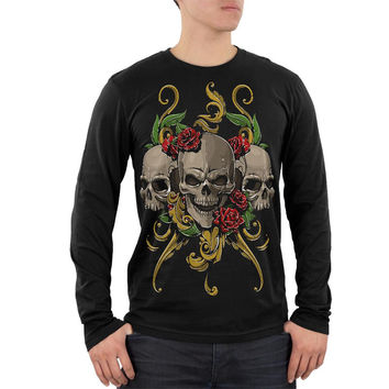 Skulls and Roses Tattoo Mens Soft Long Sleeve T Shirt