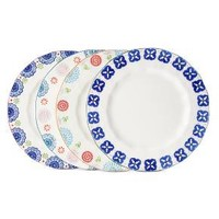 Floral Ceramic Assorted Dinner Plate Set 4-pc - Multicolored