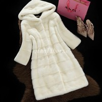 Warm Faux Mink Fur Coat Women's Long Winter Jacket Hooded Thicken Outwear Parkas
