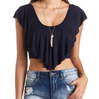 Ruffle Flounce Crop Top by Charlotte Russe - Navy