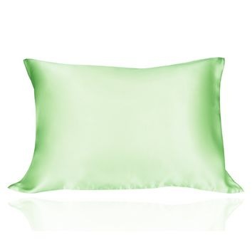 LULUSILK Mulberry Silk Pillowcase for Hair and Skin Standard Size Light Green Pillow Cover for Wrinkle Zipper Closure 19 Momme 1pc