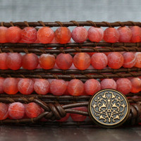 wrap bracelet - red orange fire agate on dark brown leather - dragon vein agate