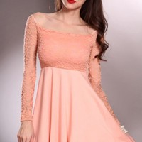 Peach Off Shoulders Floral Mesh Long Sleeves Sexy Party Dress @ Amiclubwear sexy dresses,sexy dress,prom dress,summer dress,spring dress,prom gowns,teens dresses,sexy party wear,women's cocktail dresses,ball dresses,sun dresses,trendy dresses,sweater dres