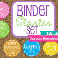 EDITABLE and INSTANT DOWNLOAD-Home Binder Starter Set--Home Organization Starter Kit-Starter Pack of my Most Popular documents