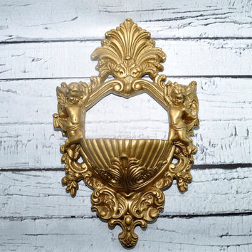 Vintage Gold Ornate Wall Planter with Cherubs Angels - Pocket Planter - Victorian Style
