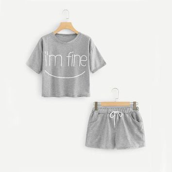 Letter Print Tee With Shorts Summer Set