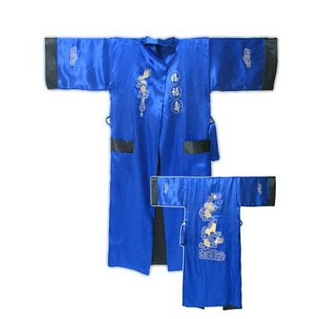 Jewelblue-Black Chinese Style Men's Double-Face Reversible Kimono Robe/Gown Embroidery Dragon Sleepwear