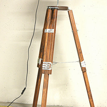 Wooden Stand Lamp TRIPOD Walnut & BLACK Spot - Vintage Rustic Antique Lighting