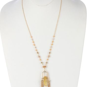 Yellow Double Chain Tassel Natural Stone Pendant Necklace