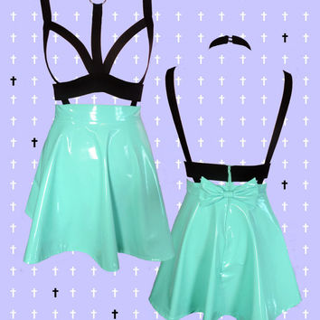 PASTEL GOTH mint harness PVC skater skirt with removable bow