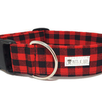 Red Plaid Dog Collar - Red Black Buffalo Plaid Dog Collar - Gingham - Lumberjack Dog Collar - (Standard Collar, Metal Buckle, or Martingale)