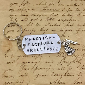 Hamilton The Musical Guns And Ships Stamped Charm Keychain