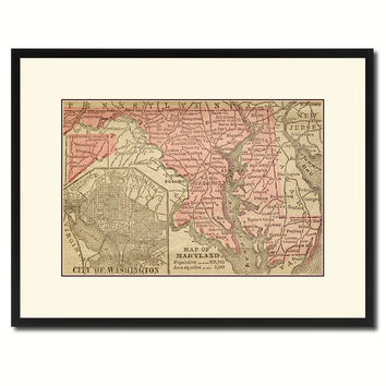 Maryland Vintage Antique Map Wall Art Home Decor Gift Ideas Canvas Print Custom Picture Frame