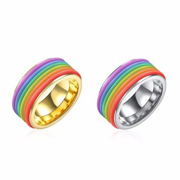 GAGAFEEL 316L Stainless Steel Ring Men Women Jewelry Luxury Gold Color Colorful Trendy Finger Rings 10MM Width Accessories