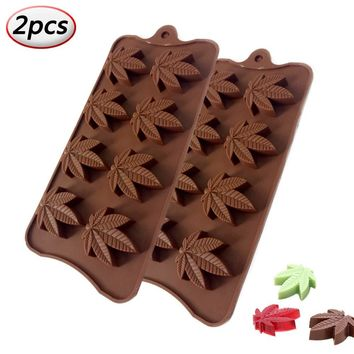 Silicone Candy Mold Marijuana Pot Leaf Chocolate Trays Chocolate Jelly Gumdrop Cupcake Toppers Gummy Ice Soap Baking Pans (2pcs, Coffee) Gumdrop