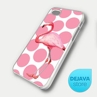 Pink Polka Dot Flamingo iPhone 5 Case