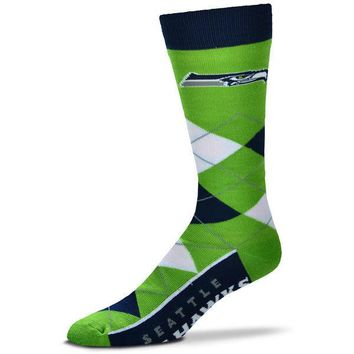 SEATTLE SEAHAWKS ARGYLE LINE UP CREW SOCKS BRAND NEW FOR BARE FEET
