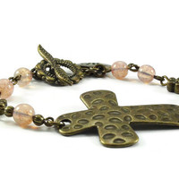 Sideways Cross Bracelet Brass Bronze Pink Beaded Jewelry