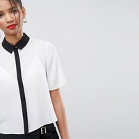 ASOS Short Sleeve Blouse with Contrast Placket at asos.com