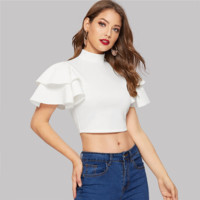 White Women Mock Neck Layered Flounce Sleeve Crop Top Blouse Elegant Office Lady Slim Stand Collar Blouses