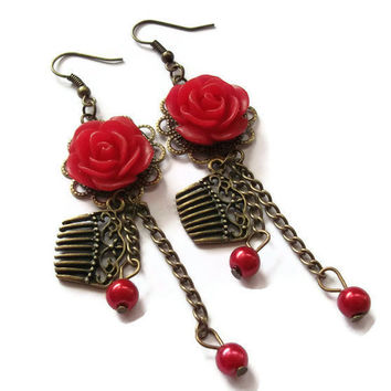 Vintage Look Comb Earrings Filigree Red Rose by TheBonnyBoutique