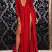 Red V-Neck Long Sleeve Dress
