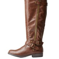 Brown Buckled Riding Boots by Charlotte Russe