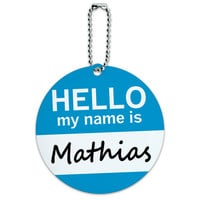 Mathias Hello My Name Is Round ID Card Luggage Tag