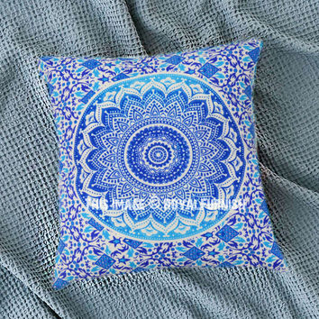 Blue Decorative Ombre Mandala Throw Pillow Cover on RoyalFurnish.com