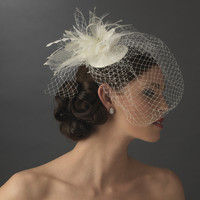 Birdcage Veil Bridal Hat with Feathers and Rhinestones - sale!