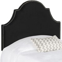 Hallmar Black Velvet Headboard - Silver Nail Head Twin