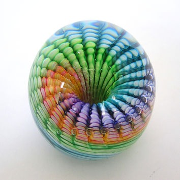 Rainbow Paperweight by April Wagner (Art Glass Paperweight) | Artful Home