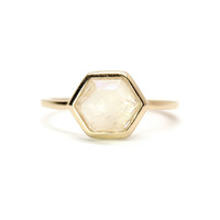 Moonstone Hexagon Ring