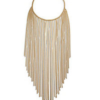 Michael Kors - Modern Fringe Goldtone Stainless Steel Bib Necklace - Saks Fifth Avenue Mobile
