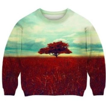 Romwe Women's The Tree Of Life Standing Under Sky Dual-tone Polyester Sweatshirt-Colorful-M