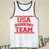 USA Drinking Team Tank  - Tee - Shirt - Funny - Humor - United States - Drinking - Alcohol - Independence Day - Merica - Fourth of July