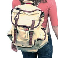 Casual Student Outdoor Canvas Beige  #serbags #canvasbackpack #backpack
