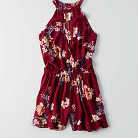 AEO Hi-Neck Wrapped Romper, Burgundy