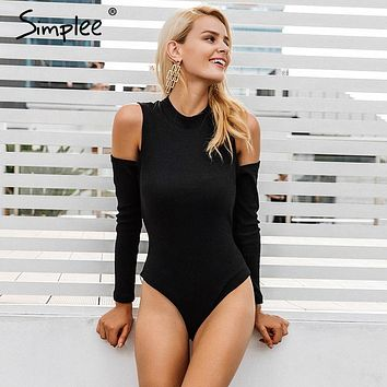 Simplee Sexy cold shoulder knitting bodysuit Women elastic black long sleeve bodysuit Casual zipper winter jumpsuit romper