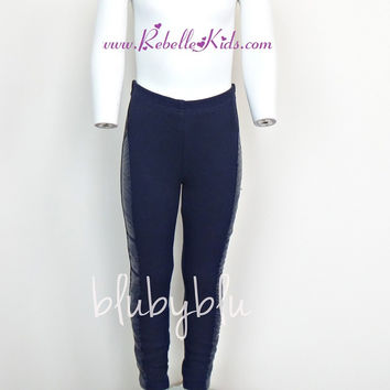 Blu By Blu Basics Navy Leggings with Pleather Ruched Side Piping