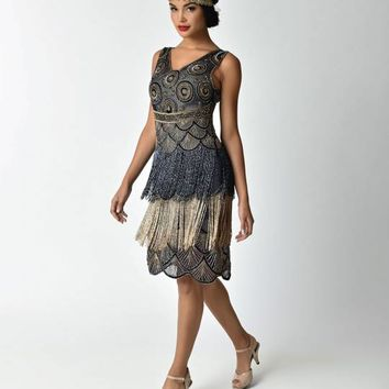Unique Vintage Deco Style Navy & Gold Beaded Fringe Agnes Cocktail Dress