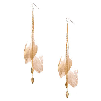 Gold-tone Chain and Large Ivory Feathers