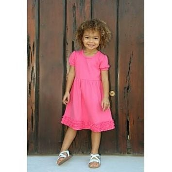 Girls Pink Ruffle Short Sleeve Dress Size 3T